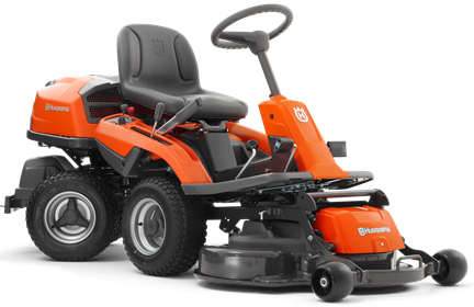 Husqvarna R214T rider lawn mower front cut viewed from the right side