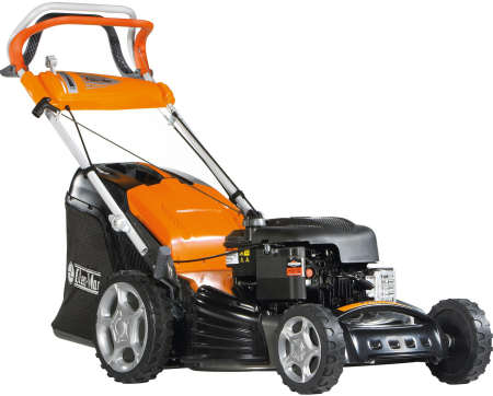Oleo mac Lawnmower G53TBX, 21 inch cut with a briggs engine, viewed from the front