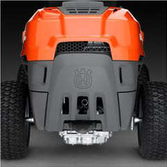 Husqvarna R112C rider lawn mower viewed from the rear