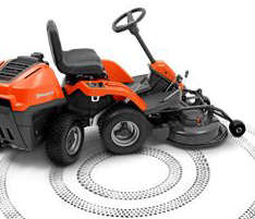 Husqvarna R112C rider lawn mower with articulated steering and tiny uncut circle of 65 centimetres