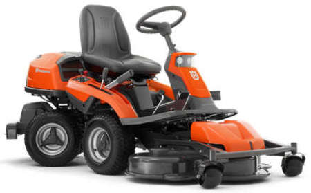 Husqvarna R318 front deck rider mower viewed from the side