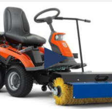 Husqvarna R318 mower with a brush fitted