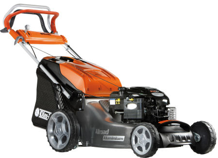 Oleo mac Lawnmower G53TBX, 21 inch alluminium deck, with a briggs and stratton 190cc engine, viewed from the front